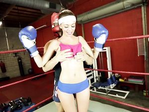 Boxing And Banging With A Skinny Teen In The Ring