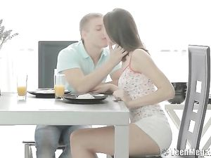 Anal On The Breakfast Table With A Skinny Teen
