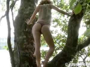 Tree Climbing Teen Redhead Masturbates Outdoors