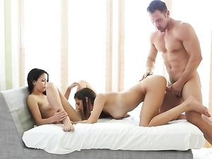 Bisexual Brunettes Make His Threesome Dreams A Reality